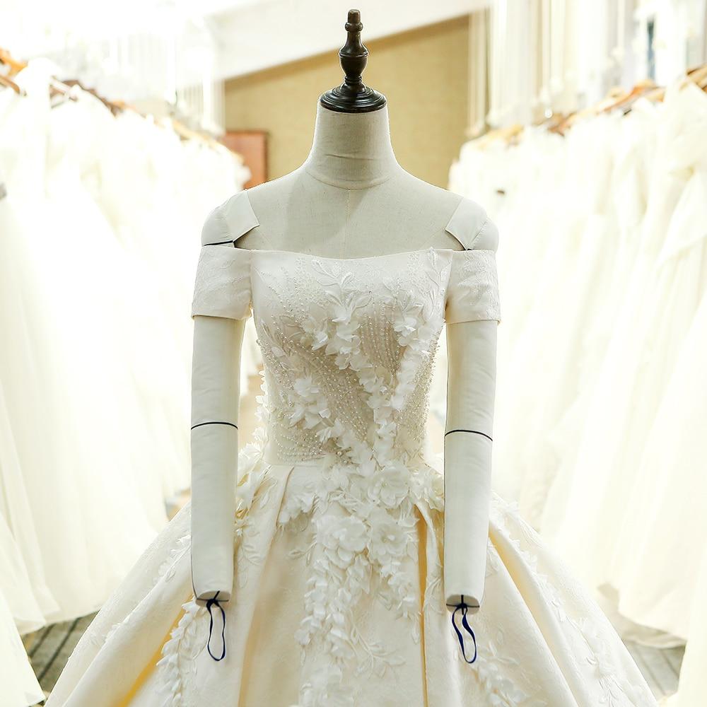 SL-128 Custom Made Satin Kortärmad Bollkledda Bröllopsklänning - Bröllopsklänningar - Foto 4