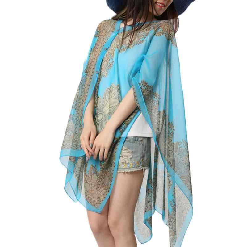 cce27b60de ... Fashion Sun Protection Beach Shawl Blouses Summer Beachwear Woman  Chiffon Flower Printing Scarf Shawl Chiffon Cover