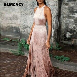 Women Halter Neck Floor Length Fringe Pastel Pink Prom Bare