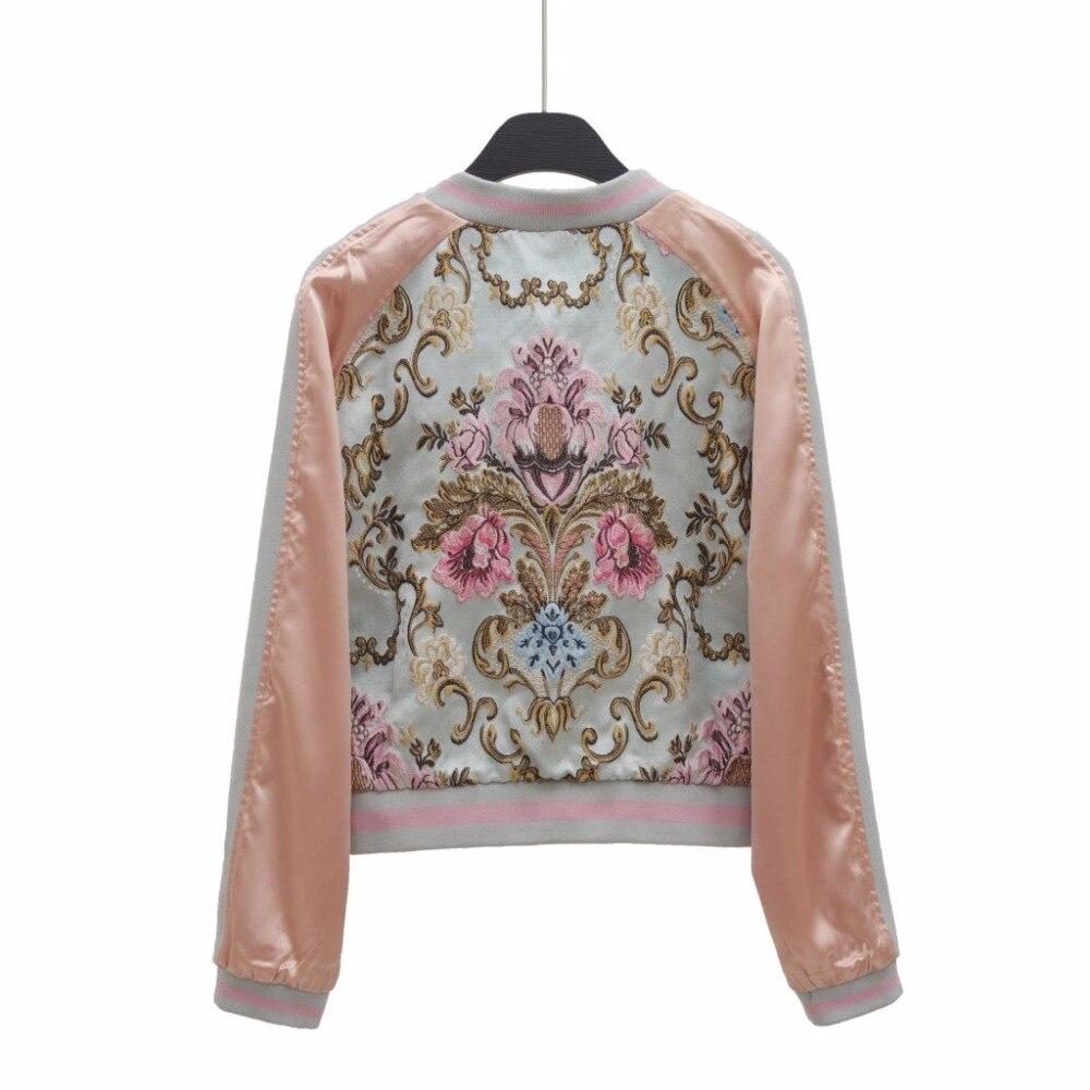 À Veste Fermeture 2017 Nouvelle 2018 Longues Jacquard Éclair Manches Luxe Broderie Mince Mode Vestes Automne Femmes Florale Bomber 4P4T6Hq