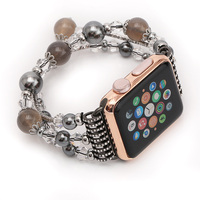 FOHUAS Luxury Gift Highquality Natural Gray Agate Band For Apple Watch Band Women S Fashion Wrist