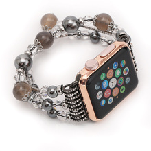 Fohuas banda de regalo de lujo de alta calidad natural de ágata gris para apple watch band correa de pulsera de moda femenina con adaptadores de 38mm 42mm