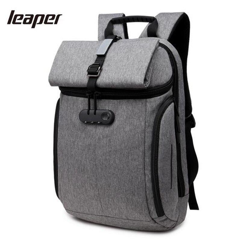 Leaper hommes sac à dos mot de passe serrure étanche Designer sac à dos pour ordinateur portable mode voyage sacs d'école pour adolescents Anti-vol