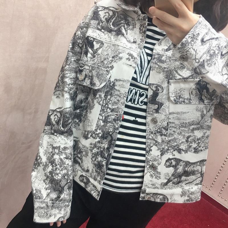 2019 Runway Designer Woman Denim Jacket Turn Down Collar Long Sleeve Ink Painting Pocket Coat Holiday
