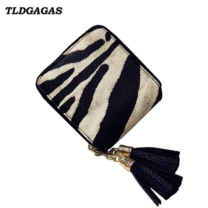 TLDGAGAS Europe and America Style Women Short wallet female zipper clutch bag fashion zebra tassels bag ladies coin purse