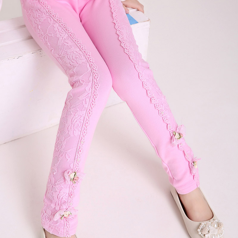2017 New Hot Sale 4-12Y baby Girl leggings Spring & Autumn Children's Pants Princess Lace Slim Cotton Pants  Children trousers