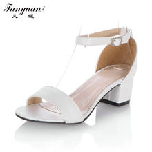 Fanyuan Ladies Med Heels Sandals 2018 Summer Shoes Women Ankle Strap Party Dress Sandals Solid Open Toe Women's Stiletto Heels(China)