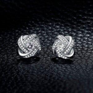 Image 2 - JewelryPalace Liebe Knoten CZ Stud Ohrringe 925 Sterling Silber Ohrringe Für Frauen Mädchen Koreanische Ohrringe Modeschmuck 2020