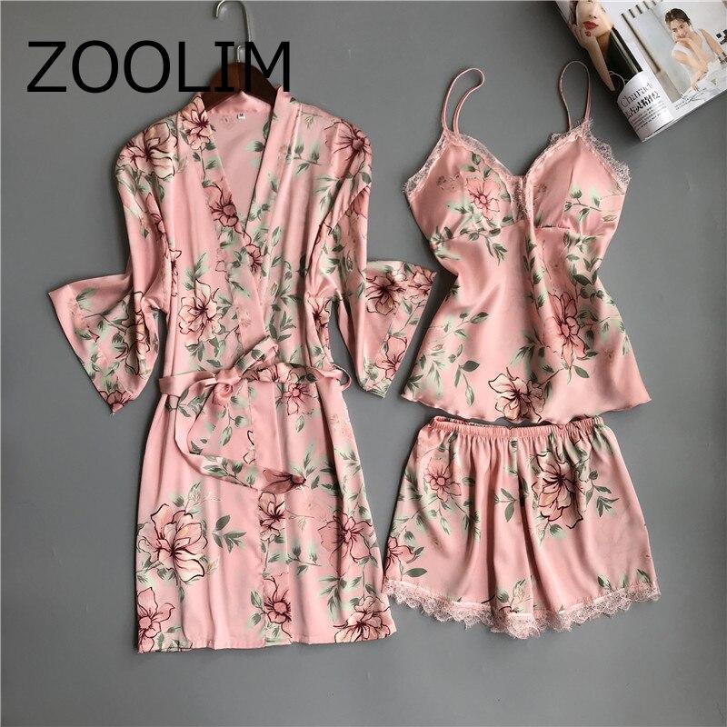2019 Women Pajamas 3 Pieces Satin Sleepwear Pijama With Chest Pads Spaghetti Strap Lace Silk Sleep Lounge Nightwear Pyjama