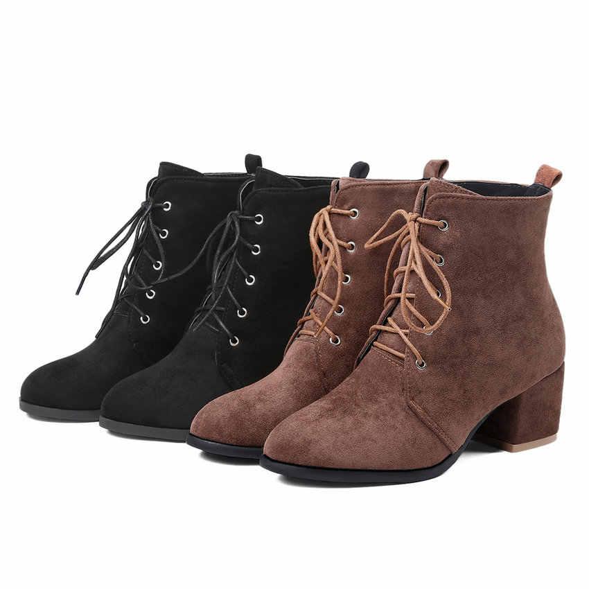 QUTAA 2020 Kadın yarım çizmeler Tüm Maç Akın Zarif Kare Topuk Yüksek Kış çizmeler kadın ayakkabıları Çizmeler Dantel Büyük Boyutu 34- 43