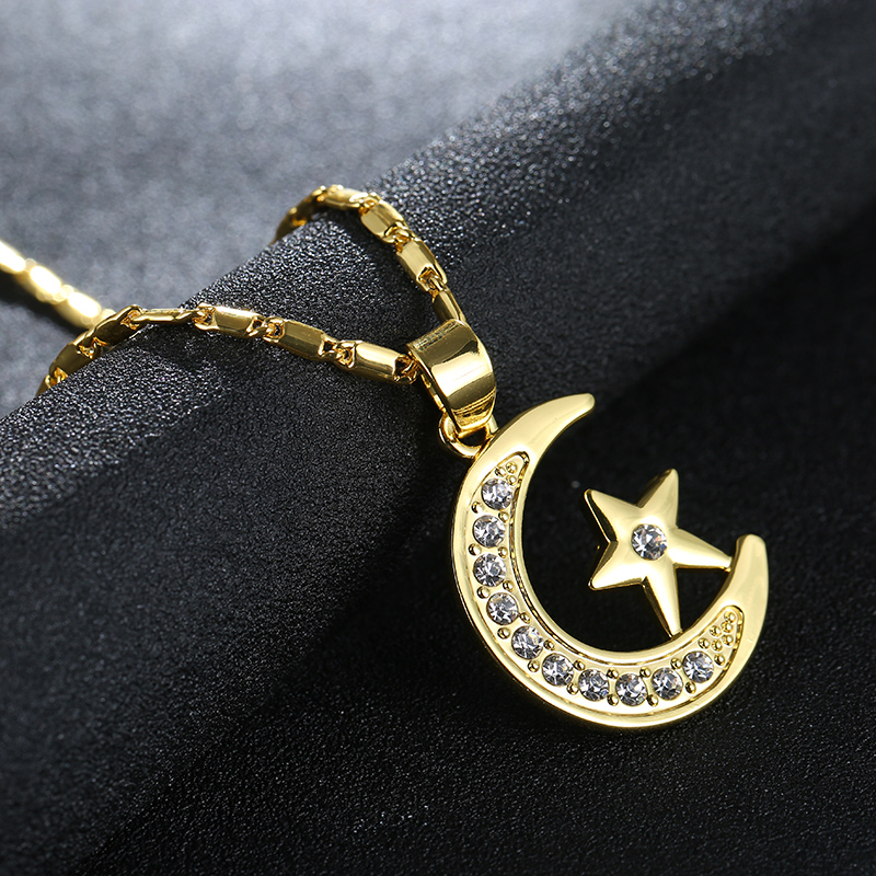 2019 New Arrival Cute Fashion crystal Moon Pendant Necklace For Women Gold Silver Color Chain Necklace Jewelry Gift Wholesale