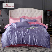 SlowDream Luxury 100% Silk Bedding Set Purple Bedspread Rubber Pink Fitted Sheet Adult On Elastic Band Duvet Cover