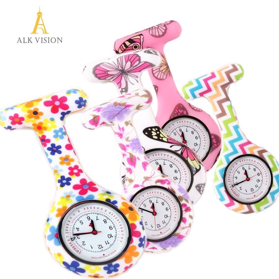 Calendar Date Silicone Nurse Watch Fob Pocket Watch Doctor Nurse Gift Butterfly Pattern Japanese Hospital Nurse Watch ALK VISION
