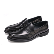 Large size EUR45 black Pointed toe loafers dress shoes mens wedding shoes genuine leather office shoes