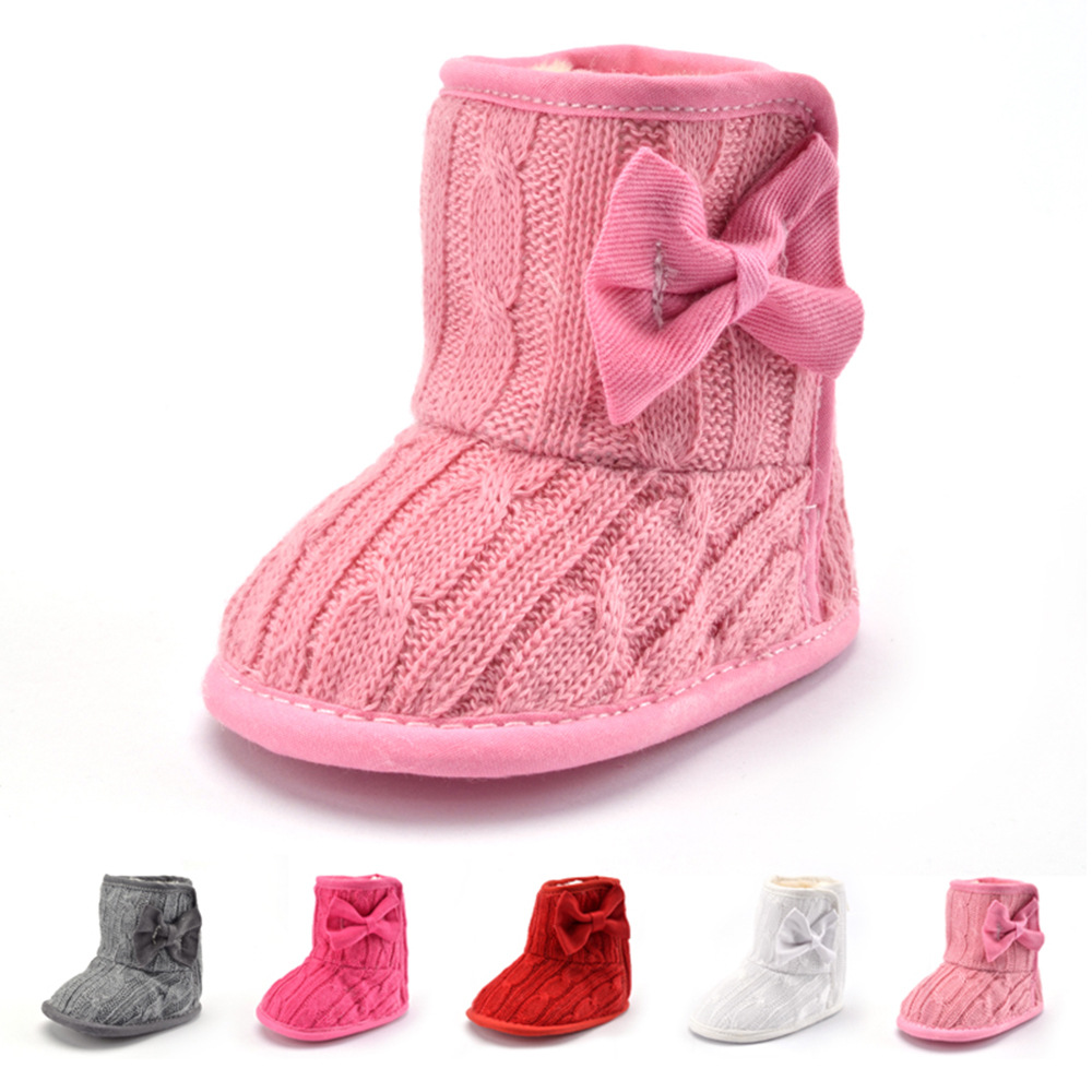 Infant Toddler Baby Gilrs Bowknot Plush Sole Crib Winter Soft Snow Boots