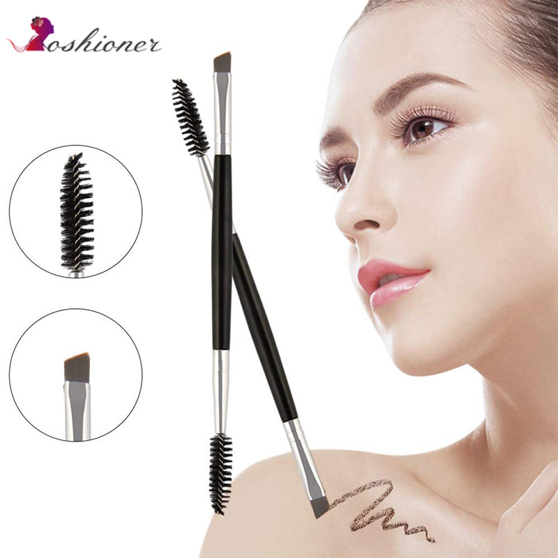 1 PCS Cosmetic Black Double-End Angled Mascara Brush for Eyebrow title=