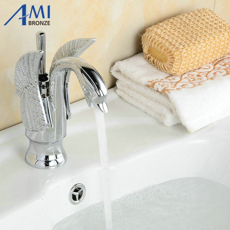 NEW bathroom basin Swan Style Chrome Polished Sink Mixer Tap Faucet B-002 blanco alta 512319 tap mixing valve oriental style chrome by blanco