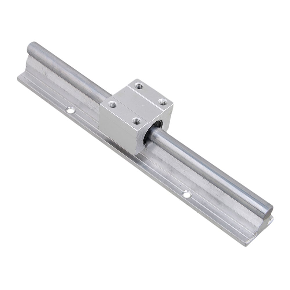 Silver Open Roller Bearing Slide Block & L200mm SBR10 Linear Bearing Rail Guide with 10mm Dia Shaft for CNC Machine Set of 2 silver open roller bearing slide block