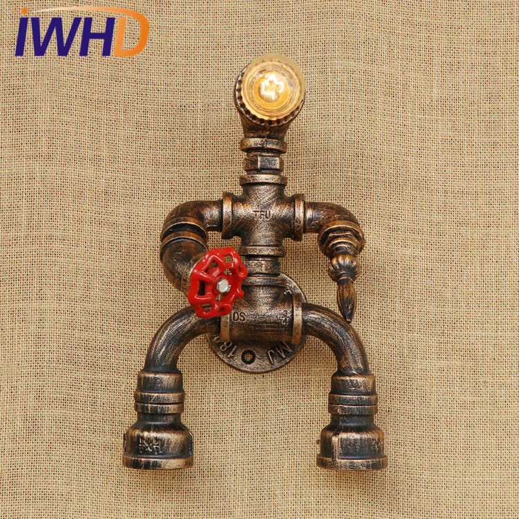Retro Loft Style Water Pipe Lamp LED Industrial Edison Wall Sconce Lamps Robot Vintage Wall Light Fixtures Home Decor Lighting|vintage wall light|edison wall sconce|wall sconce - title=