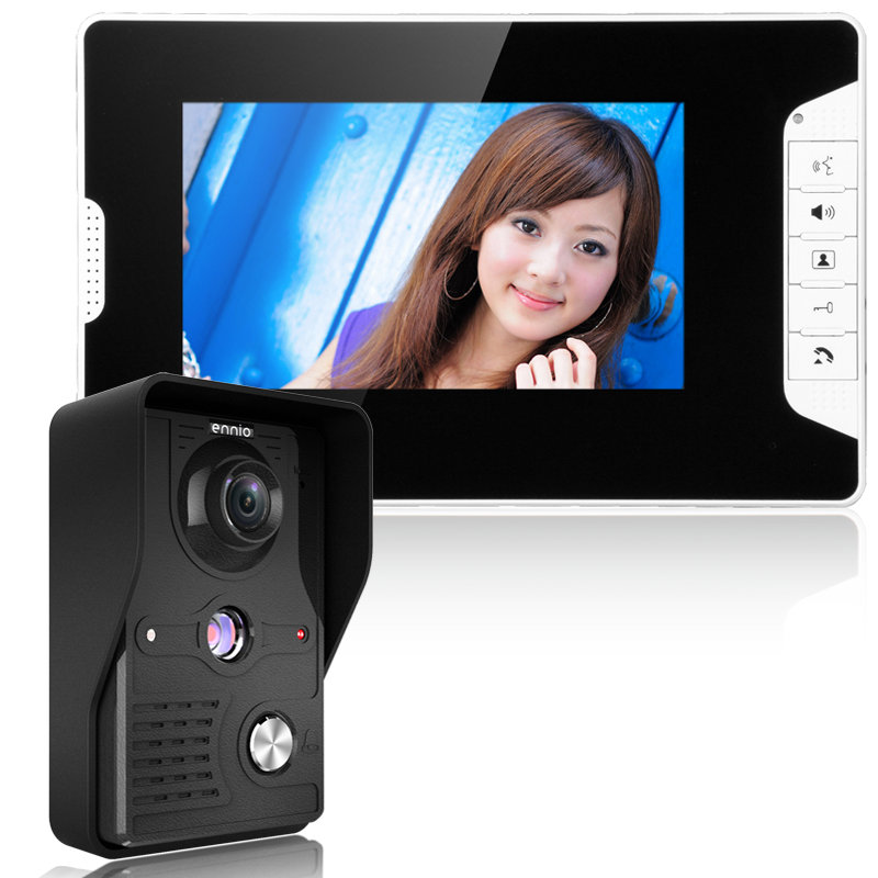 Visual Intercom Doorbell 7'' TFT LCD Wired Video Door Phone System Indoor Monitor 700TVL Outdoor IR Camera Support Unlock title=