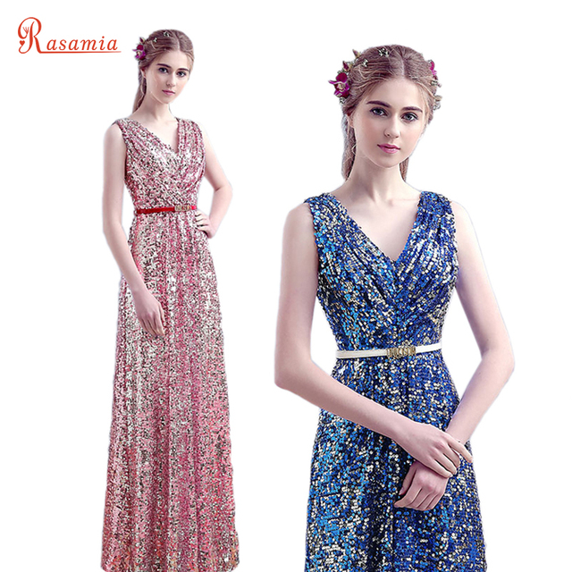 Sequin Evening Gown Long Luxury Prom Dresses Rose Gold Formal Women ...