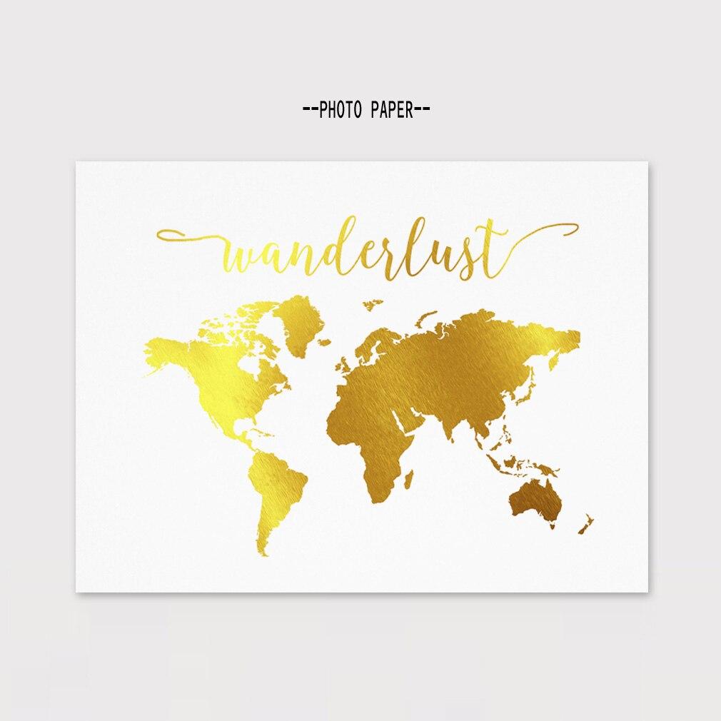 Gold Foil World Map Framed.Gold Foil World Map Wall Art Print Inspiration Wanderlust Golden