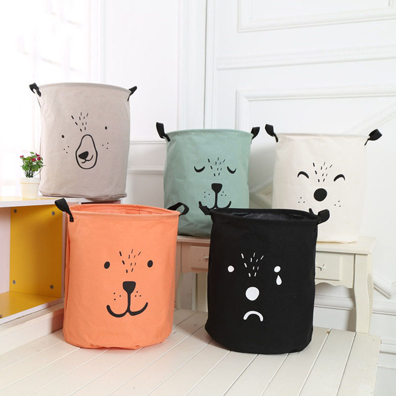 2019 New Hot 1 x Storage Clothes Basket Laundry Hamper Bag Cartoon lovely Clothes Storage Baskets Home Clothes barrel Bags(China)