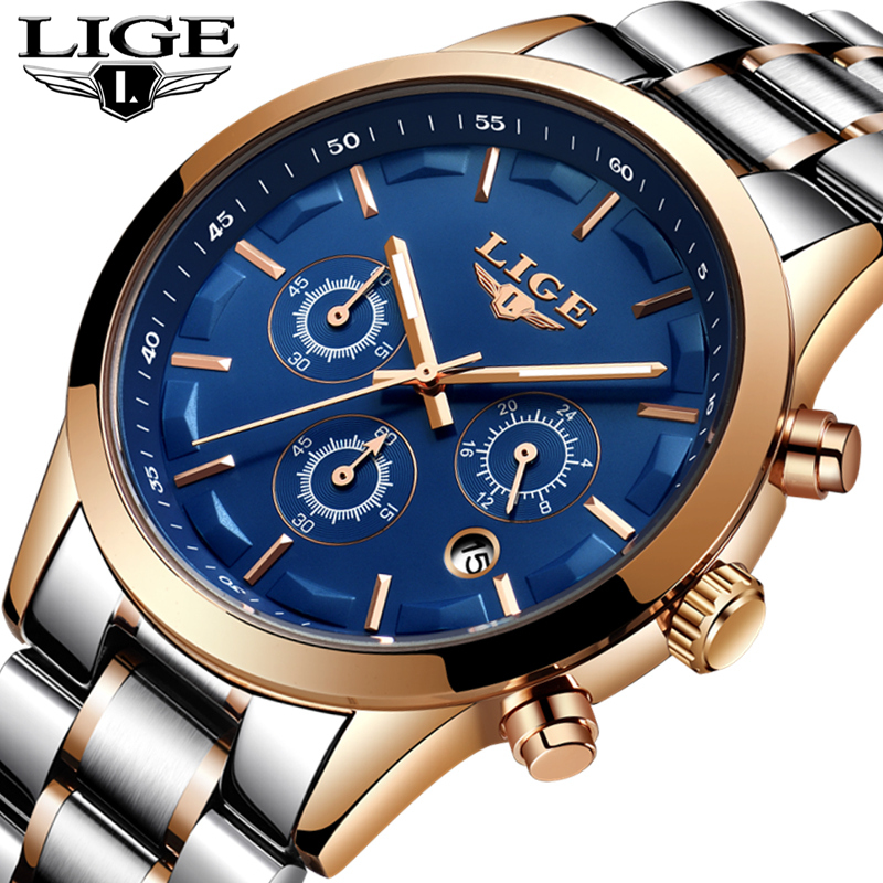 LIGE Watch Men Fashion Casual Sports Quartz Waterproof Mens Watches Top Brand Luxury Full Steel Business Watch Relogio Masculino a500g mens watches top brand luxury tvg brand men business casual watch stainless steel strap quartz watch fashion sports watche
