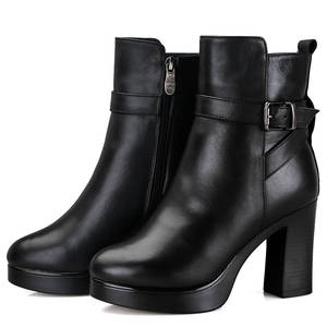 Image 2 - MORAZORA/2020; натуральная кожа; натуральная шерсть; зимние ботинки; Модные ботильоны; женские ботинки на платформе; женские зимние ботинки на высоком каблуке