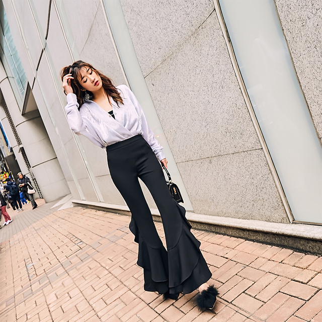 2018 Для женщин оборками Тонкий Полный расклешенные брюки Для женщин Высокая Талия Повседневное штаны длинные брюки элегантный Костюмы 9916
