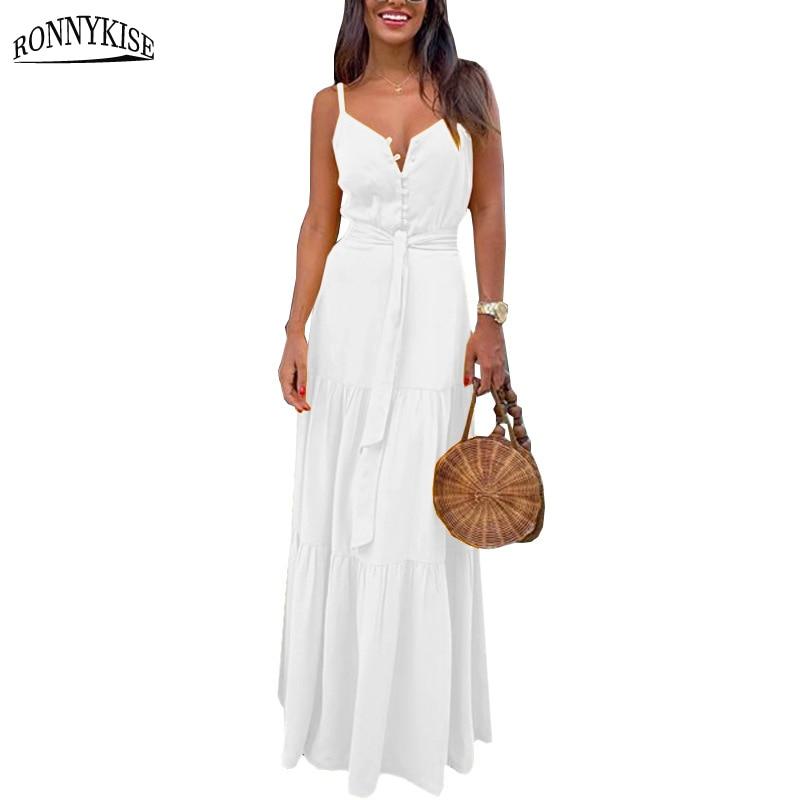 RONNYKISE Sleeveless Dresses Women Fashion Sexy V-neck Botton Stitching Spaghetti Strap Dress Summer Casual Party Long Dresses 1