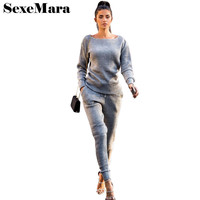 SexeMara Cotton Knitted Tracksuits Women Two Piece Set Top And Pants Casual Solid Sweater Sets 2017
