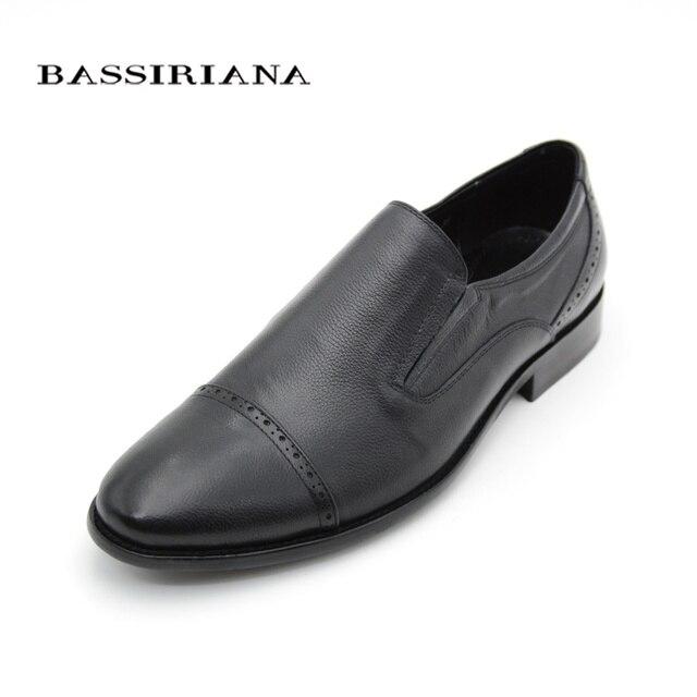 Кожаные туфли мужские классические круглый носок скольжения на обуви русский размер 39–45 Бесплатная доставка bassiriana