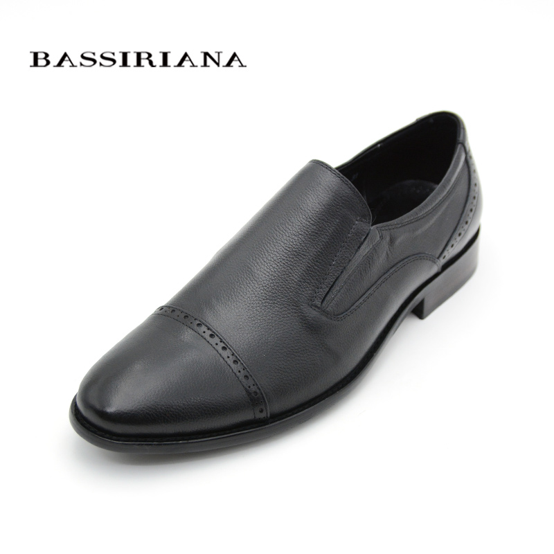 Leather shoes men Classic Round Toe Slip-On shoe Russian size 39-45 Free shipping BASSIRIANA