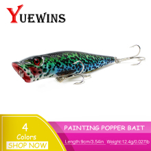 Купить с кэшбэком  YUEWINS Big Popper Fishing Lure 3D Eyes Artificial 9cm 12.4g Baits Swimbait Floating topwater Wobbler Minnow Fishing Lures TP26