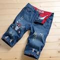 2016 nuevos pantalones cortos de mezclilla homme 2016 verano de alta calidad de los nuevos hombres de Algodón Stretch Jeans sobretensión cinco pantalones vaqueros 882/P35