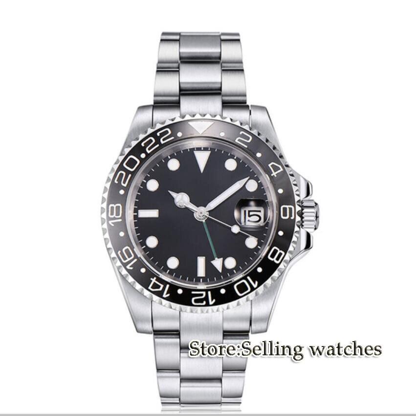 40mm parnis sterile dial Sapphire Luminous GMT automatic movement mens Watche40mm parnis sterile dial Sapphire Luminous GMT automatic movement mens Watche