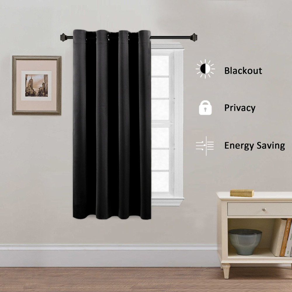 Blackout Curtains For Living Room Hotel European Simple: Red Black Solid Window Curtains For Living Room Bedroom