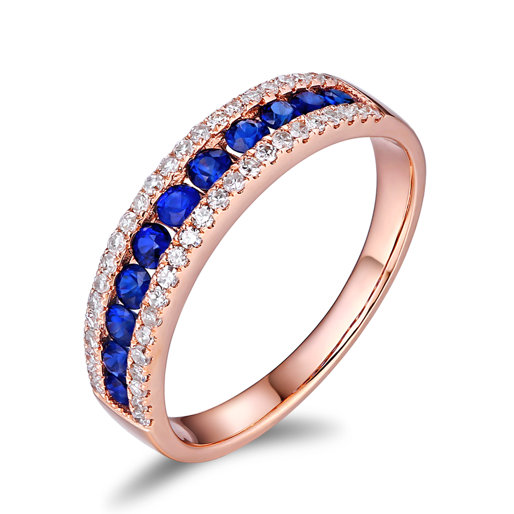 CaiMao 14KT/585 Rose Gold 0.26ct Round Cut Diamond 0.45ct Blue Sapphire Engagement Gemstone Wedding Band Ring Jewelry yoursfs® alliance gold 585 blue heart stone promise ring rose gold plated created sapphire turkish jewelry wedding engagement ring