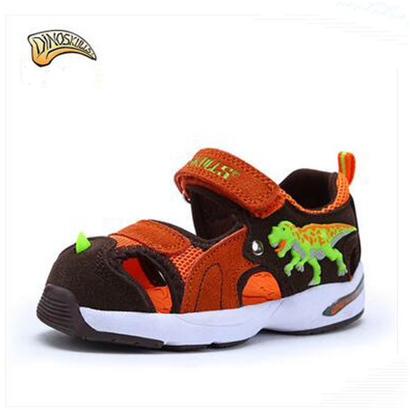 Dinoskulls Summer Brand Kids Beach Shoes Closed Toe Boys Girls Sandals 3D Dinosaur Baby Shoes Children Baby Toddle Casual Shoes