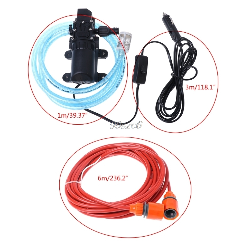 12V Portable 100W 160PSI High Pressure Self-priming Electric Car Wash Washer Washing Machine Cigarette Lighter with Water Pump portable water pump cigarette lighter high pressure 12v spray gun car cleaner self suction electric car washer