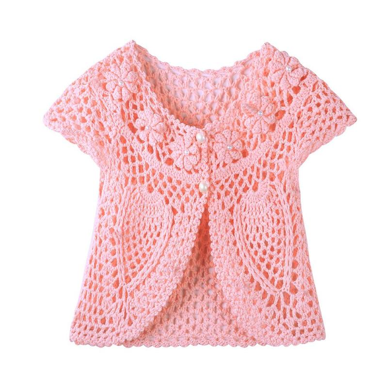 Toddler Baby Hollow Sweater Handmade Crochet Flower Pearl Vest Waistcoat