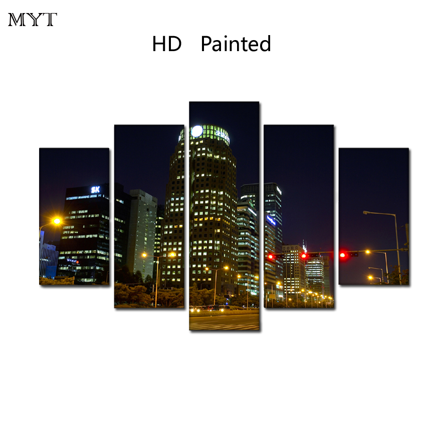 2018 Hot sale HD printed Modern city night color light on Canvas Painting 5 Pcs Wall Art Wall Picture For Living Room home dec