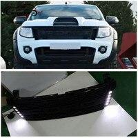 CITYCARAUTO собственный дизайн изменение светодио дный гонки гриль решетка ABS черный решетка радиатора планки, пригодный для Ranger wildtrak T6 txl pickup2012 14