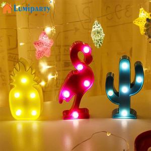 Image 3 - Светодиодный мини ночник с 3D фламинго, табличка с Фламинго/КАКТУСОМ/ананасом, настольные 3d лампы, настенная лампа с Луной, приспособление для домашнего декора, лампа