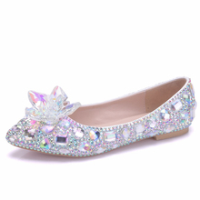 Crystal Fashion Comfortable Wedding Shoes Woman Rhinestone Pearled Pointed Toe Shoes Ladies White Flat Heel Women Shoes XY-A0175 2018 beautiful flat heel silver crystal rhinestones wedding shoes comfortable white lace bridal shoes plus sizes brides shoe