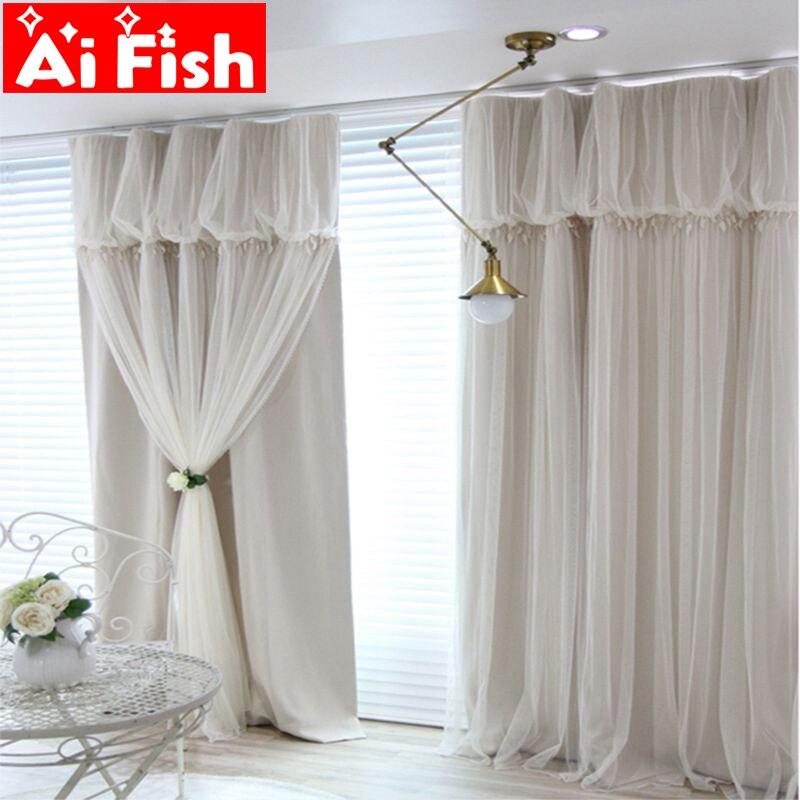 Coréen rêve princesse rideau fenêtre romantique dentelle salle de mariage pure Tulle rideaux finis pour salon DF034-40