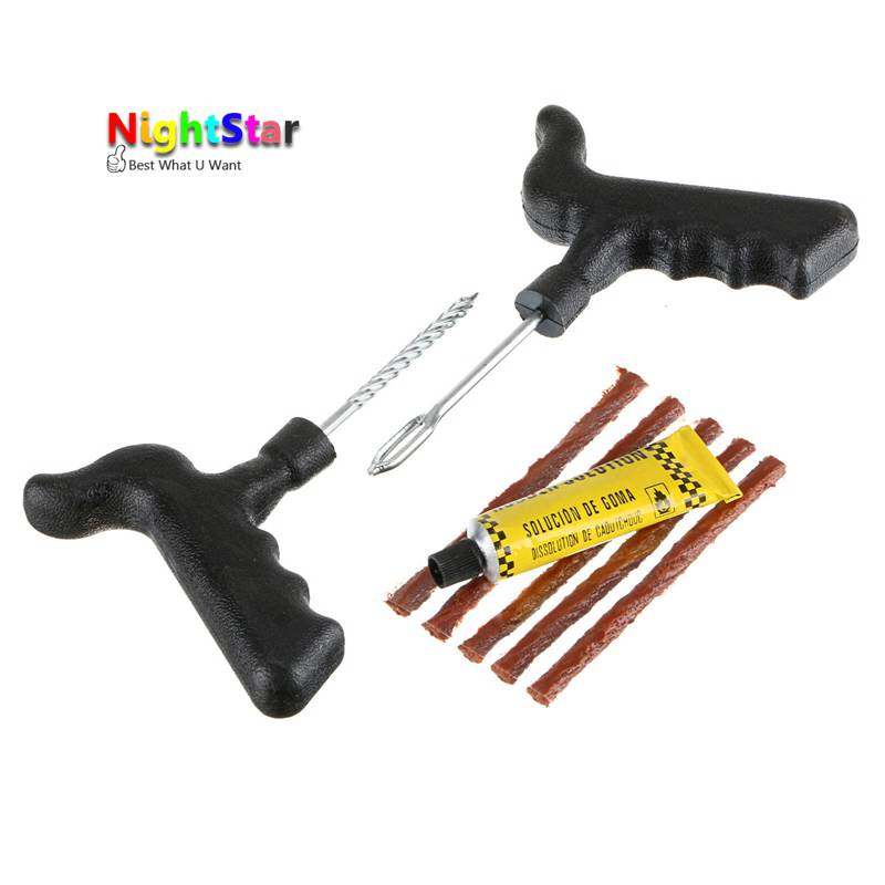 Motorcycle/Car Tubeless Type Puncture Repair Kit Tool Tire Plug Auto 5 Strip /Home Tool Kit