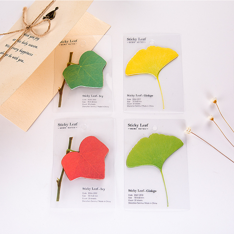 Student Cute Kawaii Ginkgo Post It Note Sticky Notes Creative Leaf Memo Pad For Kids Gift School Supplies 2593