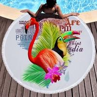Microfiber Round Beach Towel Flamingo Tropical Tree Pineapple Leaves Printed Serviette De Bain Toalla Microfibra For Adults